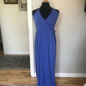 Blue Halter Wrap Maxi Dress Size M by Feathers